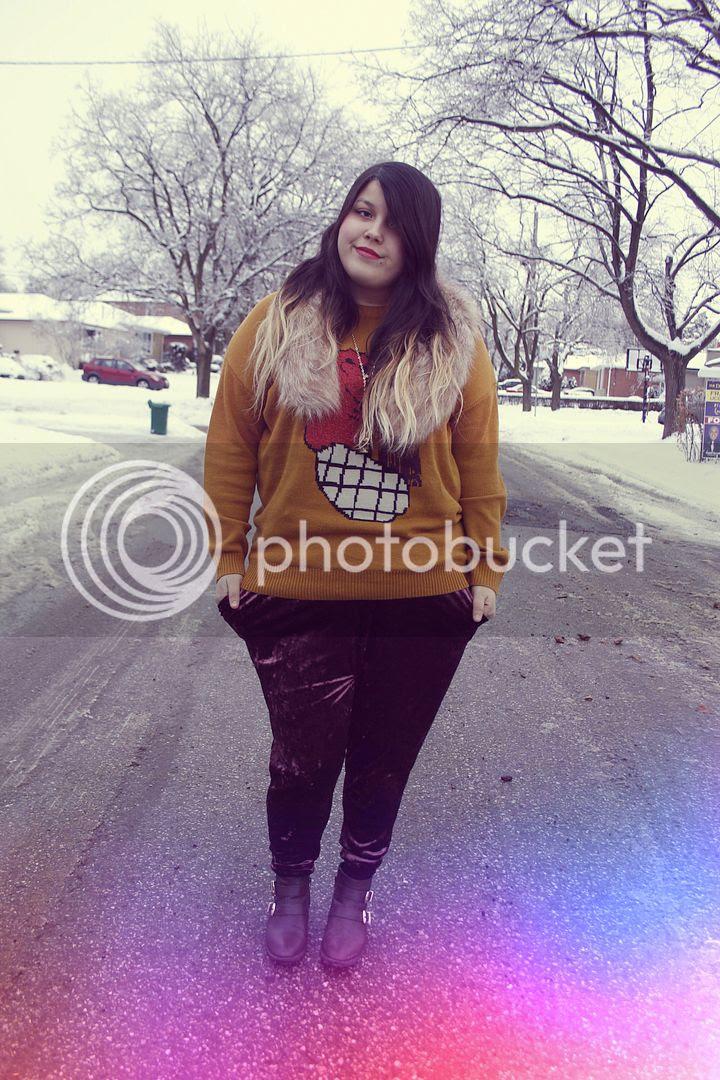 Jessica Ip Plus Size Fashion Blogger Toronto Fur Velvet Harem Pants Urban Outfitters Outfit