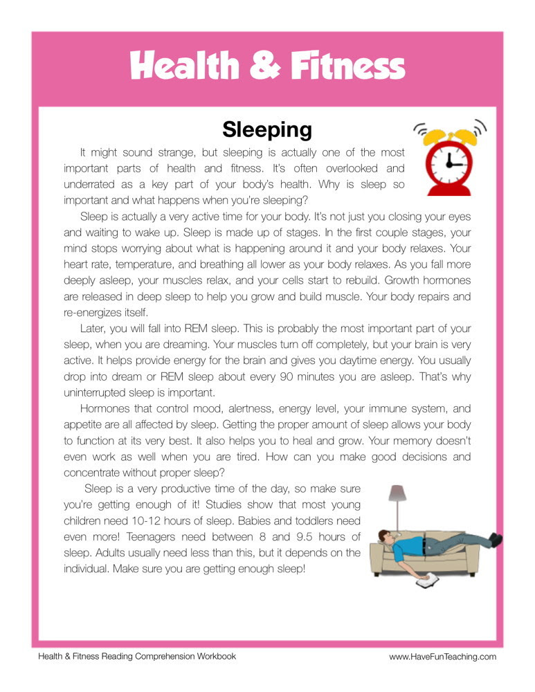 free health and fitness reading comprehension worksheet sleeping