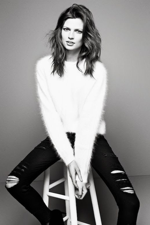 LE FASHION BLOG FUZZY SWEATERS DENIM FRAME DENIM FW 2013 LOOKBOOK WHITE MOHAIR ANGORA KNIT SKINNY BLACK DISTRESSED JEANS RIPPED TORN DENIM CLASSIC COOL STYLE INSPIRATION MODEL BETTE FRANKE SIDE PART WAVY SHORT HAIR1 photo LEFASHIONBLOGFUZZYSWEATERSDENIMFRAMEDENIMFW2013LOOKBOOK1.jpg