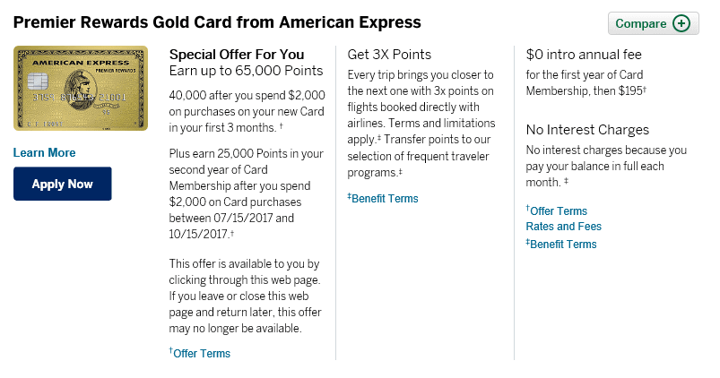 Amex Premier Rewards Gold Card Review - Up To 65,000 Point ...