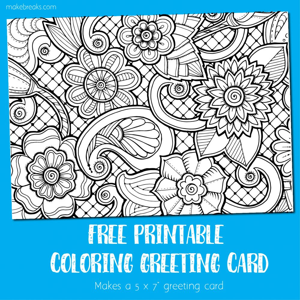 Coloring Card - Greeting Card to Color - Make Breaks