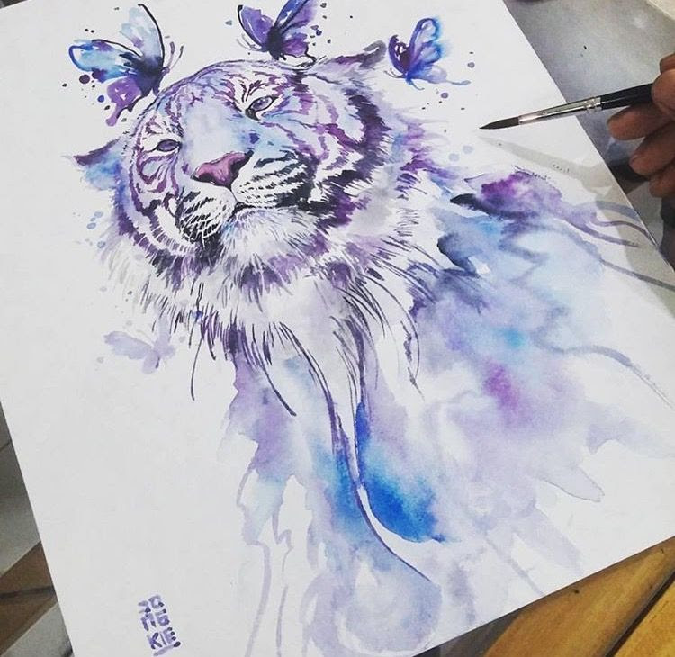 Watercolor Tiger Tattoo At Getdrawingscom Free For Personal Use