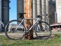 Complete bike, grain elevator in the background
