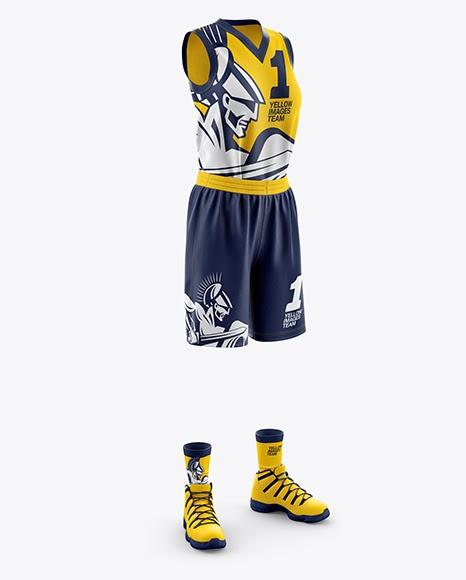 Download Women's Full Basketball Kit with V-Neck Jersey PSD Mockup ...