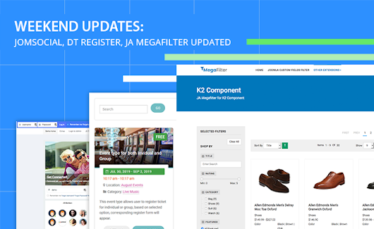 Weekend Updates: JomSocial, DT Register, JA Megafilter updated and more | Joomla Templates and Extensions Provider