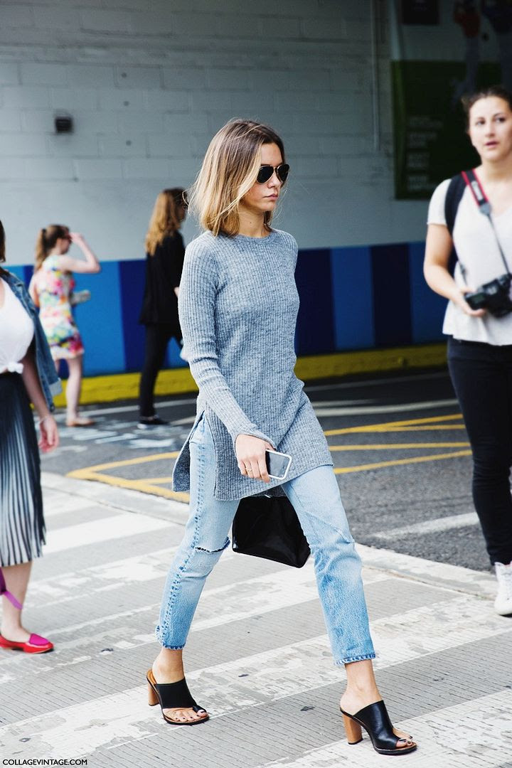 Le Fashion Blog -- 2 Ways: Ribbed Grey Side Slit Sweater With Denim And Mules -- New York Fashion Week Street Style Via Collage Vintage -- photo Le-Fashion-Blog-2-Ways-Ribbed-Grey-Side-Slit-Sweater-Denim-Mules-New-York-Fashion-Week-Street-Style-Via-Collage-Vintage.jpg