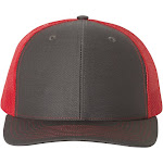 Richardson 112 Snapback Trucker Cap - Charcoal/ Red - Adjustable