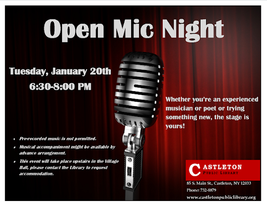 Open Mic Night scheduled for Tuesday, January 20