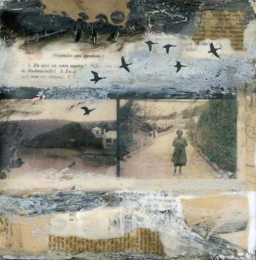 The Day Left - Original Encaustic Collage Painting