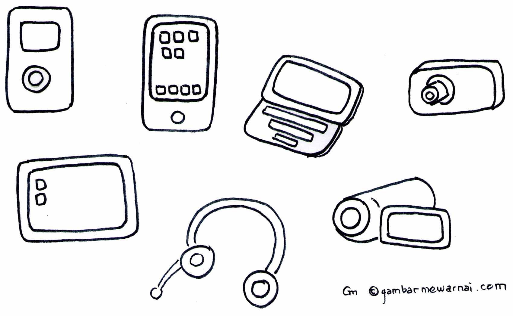 [Siap Cetak] Mewarnai Gambar Alat Komunikasi Telepon