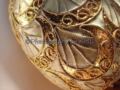 a macro of a decorative golden egg