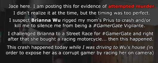 YT: Armed Gamergate-r Crashes Mother's Prius en route to Brianna Wu's House
