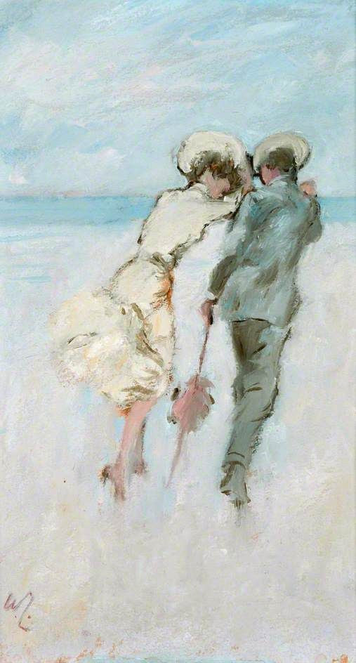 William Littlewood - Lovers by a windy seashore (ca. 1960)