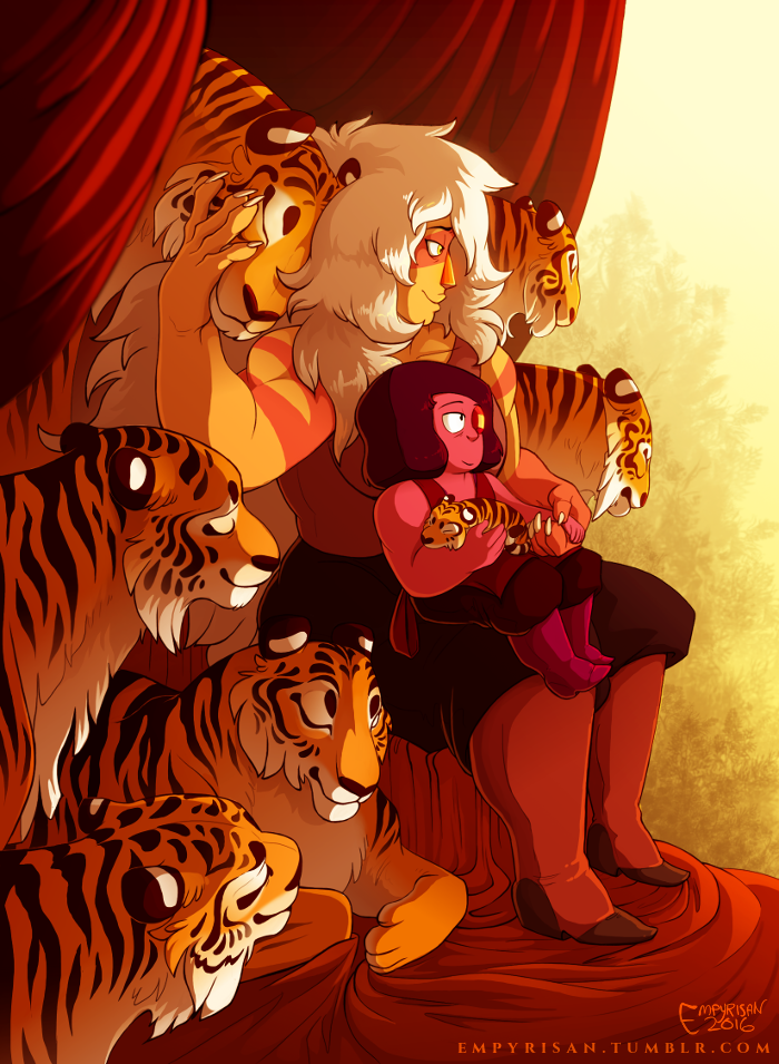 Guardian of Tigers A streak of tigresses accompany their Queen and her consort at the edge of a golden forest just beyond their throne. My piece for the currently-in-limbo @jasperzine, which I hope...