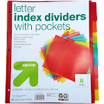 8ct Tabbed Plastic Index Dividers with Pockets - Up&Up