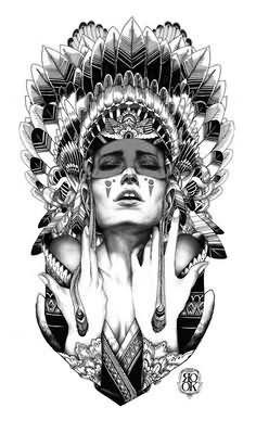 Grey Indian Headdress Tattoo Design