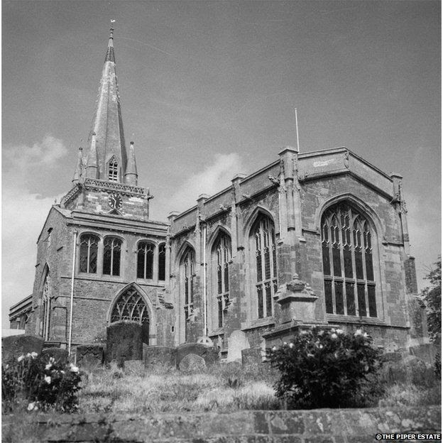 Photograph of a church possibly in Badminton, Gloucestershire