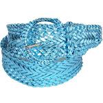 CTM Women's 2 Inch Wide Adjustable Braided Belt - Blue Large