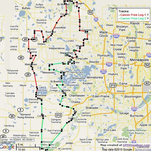 TK Cancer Free Ride Map