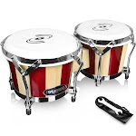 Pyle PBND10 - Hand-Crafted Wooden Bongos - Bongo Drums