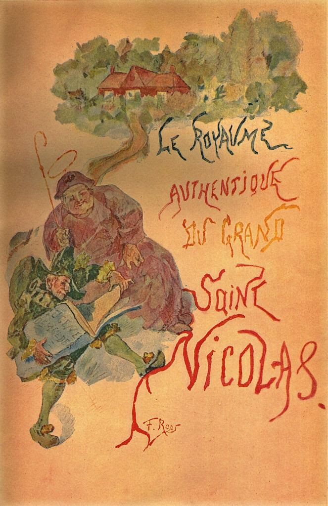 "Couverture de Félicien Rops pour ""Le Royaume authentique du grand saint Nicolas"" (Paris, Mercure de France, 1896) d'Eugène Demolder"