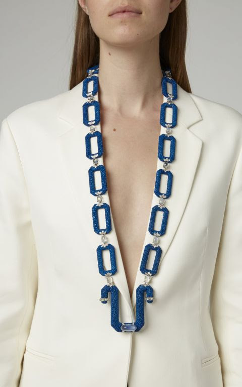 Fabio Salini Leather and Moonstone Necklace