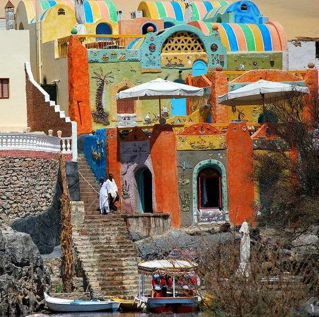 Colorful Nubian village on the banks of river Nile, Egypt