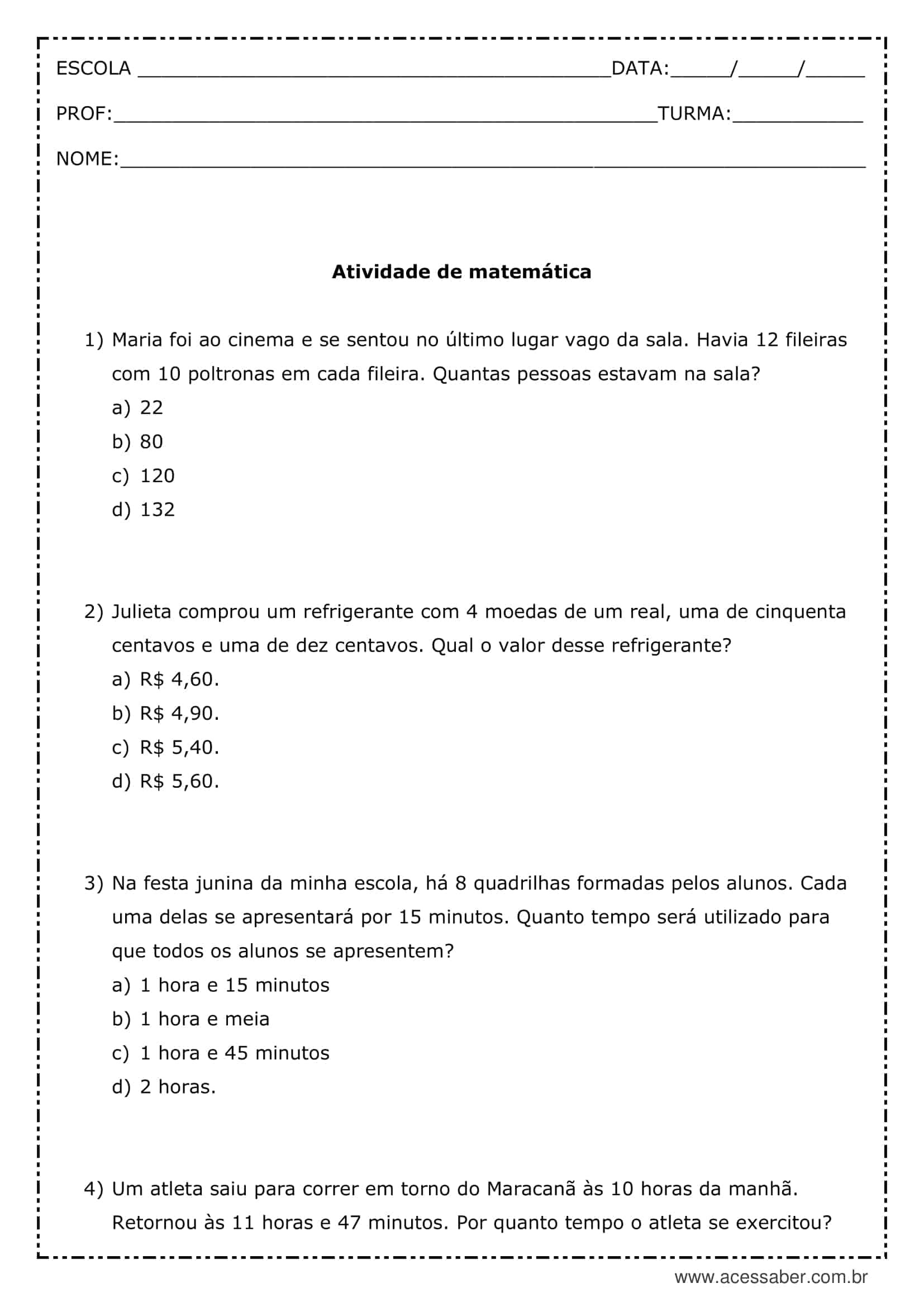 Atividade De Matematica Resolva As Operacoes 5º Ano Acessaber