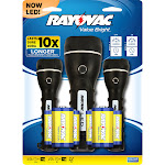 Rayovac Value Bright Black LED Flashlight AA Battery - Case Of: 3