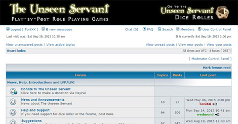 The Unseen Servant forums - Play by Post RPGs