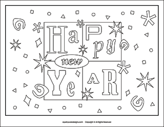 new years coloring page, new years eve coloring pages, new years activities for kids, new years activities