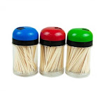 Handy Housewares 3-Pack Toothpick Storage Containers with Dispenser Lids - Includes 300 Natural Wood Toothpicks