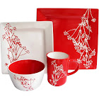 American Atelier Blossom Branch 16-Piece Dinnerware Set, Red/White