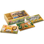Melissa & Doug Wild Animals 4-in-1 Wooden Jigsaw Puzzles in a Storage Box (48pc)