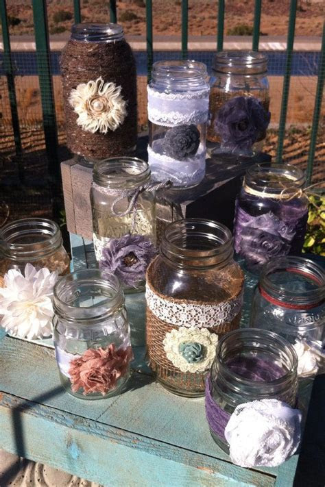 RUSTIC WEDDING DECOR. 15 Bulk Burlap Lace Mason Jars
