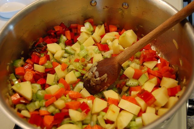 Adding the heartier vegetables