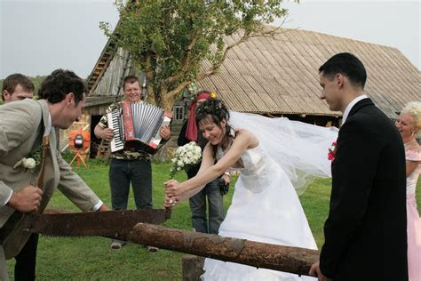 German Wedding Tradition   Sawing a Log