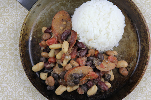 Kielbasa, rice, beans, beans, beans, and more beans. - the joy of eating well