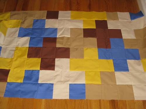 dead simple cross quilt top, 1/2 way there!
