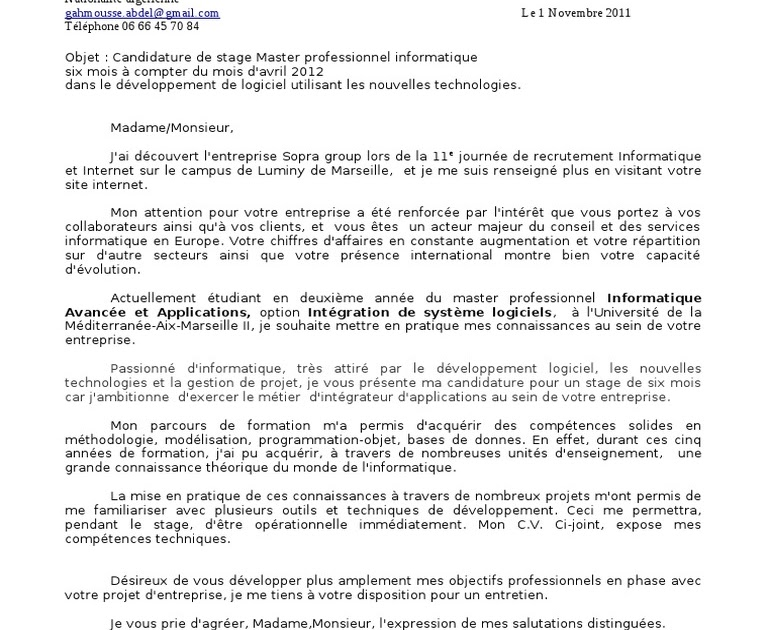 Lettre De Motivation Master Professionnel Informatique