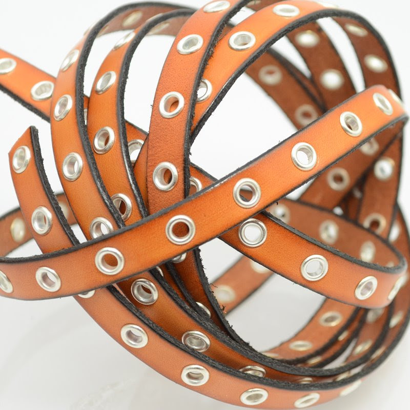 s40120 Stringing - 10 mm Eyelet Flat Leather - Saddle Brown / Silver (Inch)