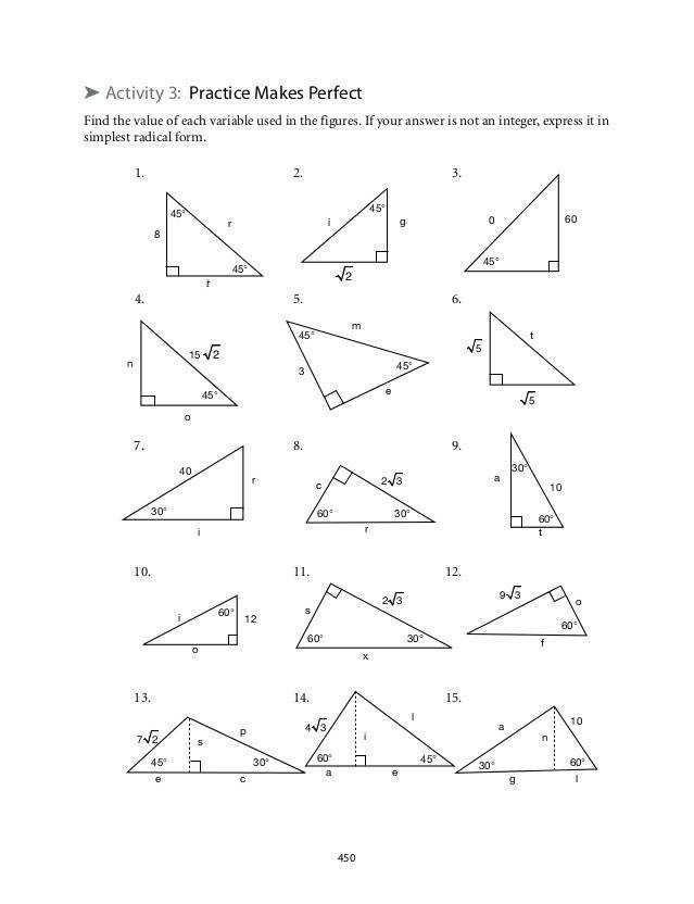 Special Triangles Worksheet  Homeschooldressage.com