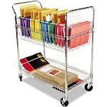 Alera Carry-All Cart/Mail Cart, Two-Shelf, 34-7/8w x 18D x 39-1/2h, Silver