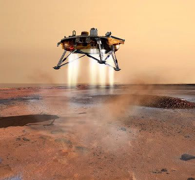 An artist's concept depicting the Phoenix lander about to touch down on the Martian surface.