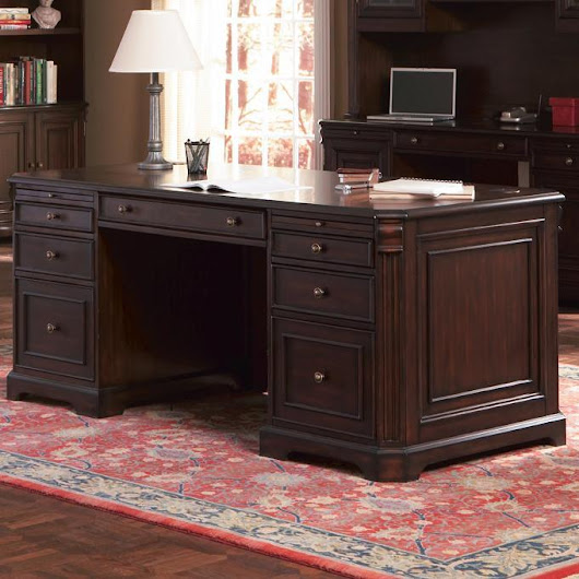 Cherry Valley Traditional Double Pedestal Computer Desk
