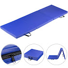 Gymax Blue Tri-Fold Gymnastics Mat 6'x2' Folding Fitness Exercise w/ Carrying Handles