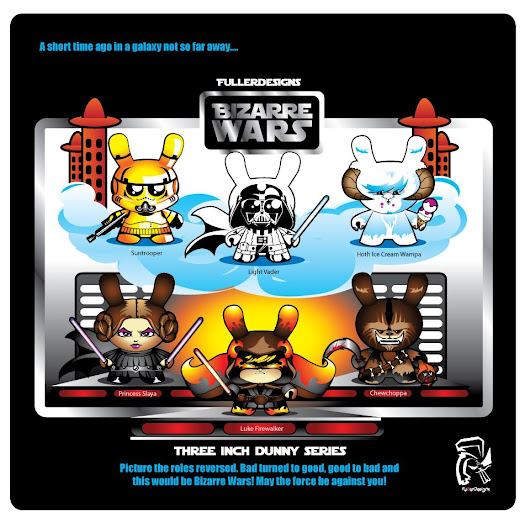 "SpankyStokes.com | Vinyl Toys, Art, Culture, & Everything Inbetween: Holy what now?!? FullerDesigns's ""Bizarre Wars"" custom Dunny series of Star Wars-inspired designs!"
