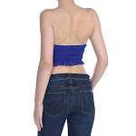 Free People Womens Lace Smocked Bandeau Top Blue
