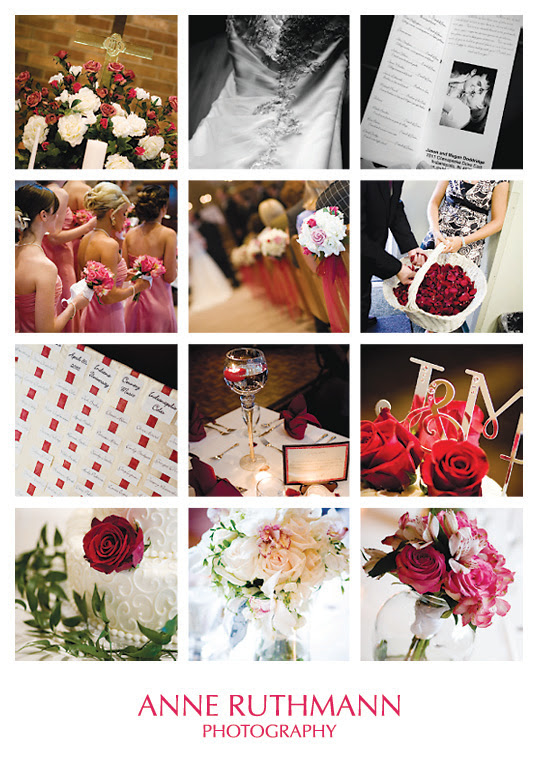 Pink White Real Wedding Detail Inspiration Board