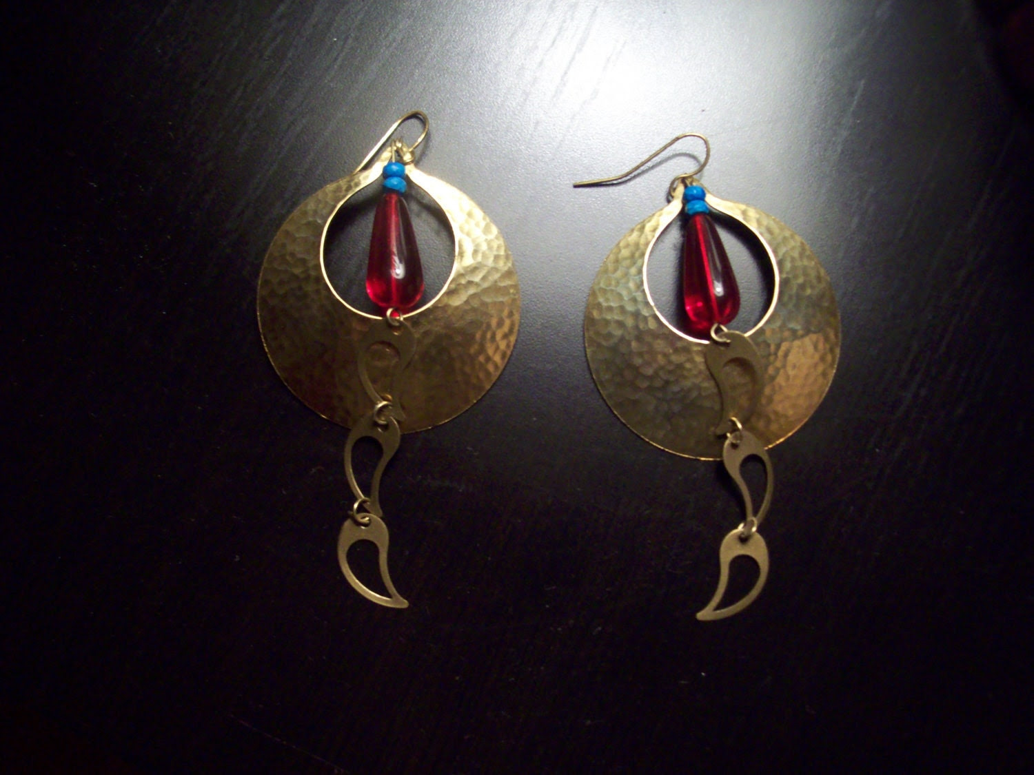 Hammered Brass Earrings w/red accent bead